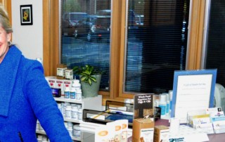 Pati at the front desk of Mountain Centre for Healing